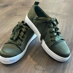 Dirty Laundry Green Satin Platform Sneakers 8